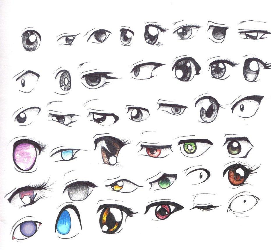 صورة توضح بعض أساليب رسم العيون في المانجا لإظهار المعاني والمشاعر المختلفة - المصدر pinterest