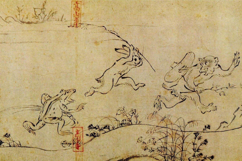 صورة من رسومات المانجا القديمة تشوجو جينبتسو جيجا 鳥獣人物戯画 – المصدر littleanimeblog.com